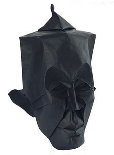 Mask face black origami artwork paper design