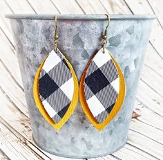 Buffalo Plaid Leather Earrings, Mustard and Black Leather Earrings, Layered Leather Earrings, Leather Leaf Earrings, Statement Earrings by whiteshedcreations on Etsy