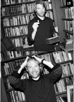 Domhnall Gleeson black and white bookshelf long hair guy man