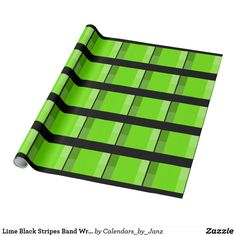 Lime Black Stripes Band Wrapping Paper by Janz