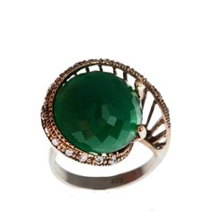 Sterling Silver Ring , Silver Ring , The Zerbap Delit Ring with Zircon , Emerald Stone , Zircon Ring , Emerald Ring by Rosestyle on Etsy