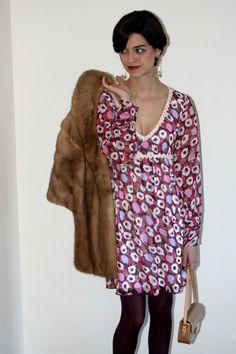 Esquire of Style at esqstyle.com ; Vintage Fur; Valentine's day; Louis Vuitton purse; 1960s; Floral Print Dress; Thrift shop; fashion blogger; long pixie cut