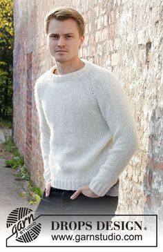 Carly Pullover pattern by DROPS design Mens Knit Sweater Pattern, Sweater Knitting Patterns, Knit Patterns, Free Knitting, Men Sweater, Finger Knitting, Drops Design, Raglan, Pulls