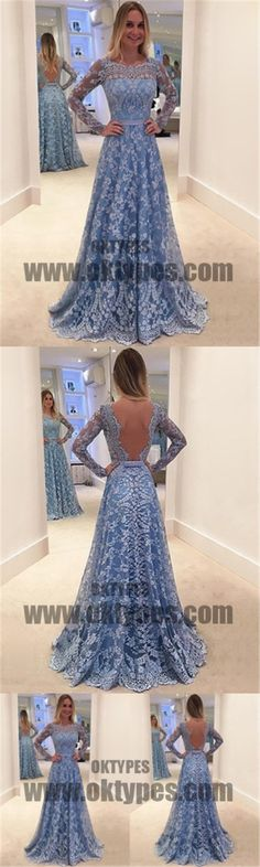 Light Blue Long Prom Dresses, Lace Prom Dresses, Long Sleeve Prom Dresses, Open-back Prom Dresses, TYP0077 #promdresses