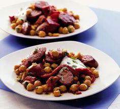 Warm chickpea, chorizo & pepper salad -- A rough-and-ready salad bursting with Mediterranean flavours - great as a starter or main Tapas Recipes, Bbc Good Food Recipes, Quick Recipes, Cooking Recipes, Tapas Ideas, Shrimp Recipes, Cheese Recipes, Appetizer Recipes, Party Recipes