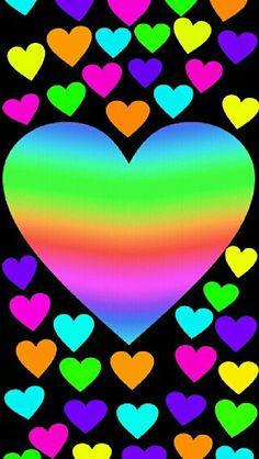 Vivos Corazones De Colores Arco Iris