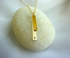 double bar initial necklace on sterling silver chain-gold initial charm necklace-silver initial bar necklace-initial bar necklace. $48.00, via Etsy.