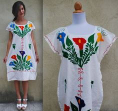 Vintage 60s 70s Mexican Embroidered Linen Sheath by littlelightVTG, $98.00