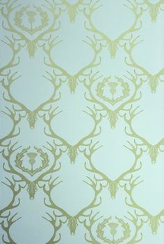 Deer Damask wallpaper - A.M.A.Z.I.N.G !! Perfect for our lounge, or bedroom.  Would make the room seem so serene I think! #mydecoWedding