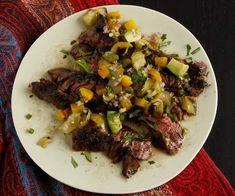Margarita-Marinated Grilled Skirt Steak with Tomatillo Salsa recipe