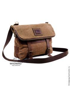 Купить Мужская сумка-трансформер из канваса (холста) и кожи - коричневый, мужская сумка, сумка-трансформер