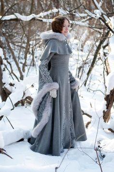 Heritrix of the Winter Wool Coat - medieval renaissance cloak cape fantasy
