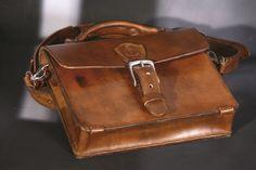 Leather messenger bag Men Brown Vintage Natural Veg leather Handmade. #Handmade #MessengerShoulderBag