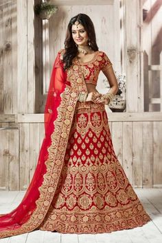 Red Velvet Lehenga with Velvet Choli - DMV11398