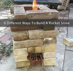 6 Different Ways To Build A Rocket Stove...http://homestead-and-survival.com/6-different-ways-to-build-a-rocket-stove/