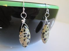 Unique Natural Dalmatian Jasper Stone Earrings. Are you looking for fun jewelry, and other items. Check out SpuzzosDeals.com. #spuzzosdeals #justincasedeck #jewelry #necklace #necklaces #bohostyle #bohostyles #hippie #hippies #bohostyles #bracelet #bracelets #surfers #surfing #hippiestyle #hippiechic #bohemianfashion #bohemianjewelry #bohemianstyle #gypsystyle #chakrahealing #hippieearrings #bohoearrings