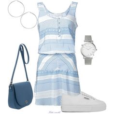 A fashion look from May 2015 featuring blue dress, laced up shoes and travel purse. Browse and shop related looks. Larsson & Jennings, Veronica Beard, Everyday Look, Superga, Casual Outfits, Clothes For Women, Clothing, Polyvore, Stuff To Buy