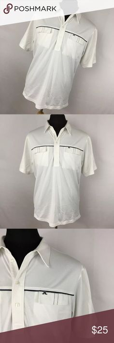 "J Lindeberg XL Polo Shirt White Gray Stripe Golf J Lindeberg XL Polo Shirt White Gray Stripe Embroidered Logo Golf Pockets. Excellent condition. Smoke free home. Chest measurement  - 48"" Length measurement - 30"" J. Lindeberg Shirts Polos"