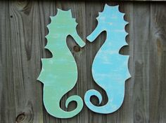 Whimsical Seahorses Wooden By TheSavvyShopper1 Save Old Wood Draw
