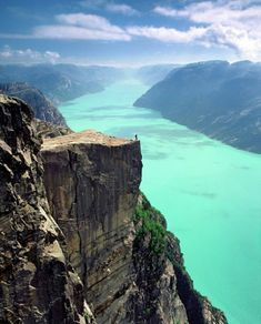Preikestolen is a steep cliff which rises 604 metres (1,982 ft) above the Lysefjorden Fjord (a long, narrow inlet with steep sides or cliffs, created by glacial erosion), it's a famous tourist attraction in the Municipality of Forsand, Rogaland County Norway
