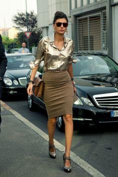 Giovanna Battaglia metallics with nudes and tans