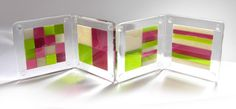 Multi-coloured springtime bullseye fused glass coasters - Beady Bugs Fusing Gallery