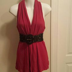 Red sleeveless cardigan. Great condition.. free belt if you want this. Also,  available with black color.racer back. Forever 21 Tops