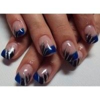 blue french manicure tips with black and silver stripe nail art