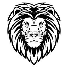 Een Leeuw hoofd-logo in zwart-wit. Dit is vector illustratie ideaal voor een mascotte en tattoo of T-shirt afbeelding. Stockfoto