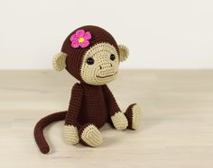 PATTERN: Monkey - 4-way jointed amigurumi monkey - Crochet tutorial with photos (EN-064)