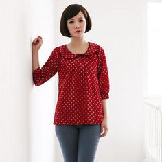 A-SO-BI Peter Pan-Collar Polka Dot Top