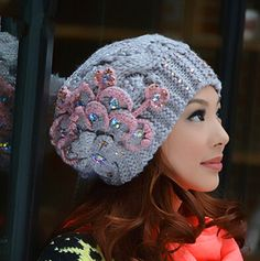 Peacock flower knit hat for women fleece winter hats with hairball