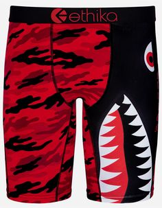 Ethika Mens The Staple FMF Boxers Underwear X-Large Red//Yellow