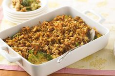 Learn how to make this cheesy, saucy, stuffing-topped Broccoli Casserole. Prepare this scrumptious casserole for a real crowd-pleaser.