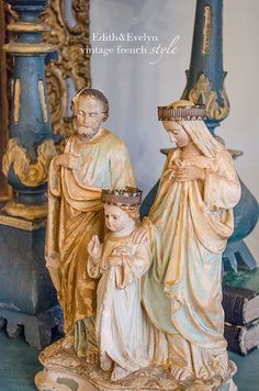 Antique French Holy Family Statue with Tin by edithandevelyn