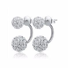 2016 새로운 패션 샴발라 양면 Sythetic 크리스탈 볼 스터드 귀걸이 웨딩 보석 선물 도매 E1752