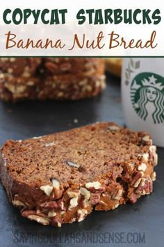 Allow me to say up front that this Copycat Starbucks Banana Nut Bread is dangerously addicting ;) I think you will really enjoy it with this Copycat Starbucks Iced Cinnamon Dolce Latte recipe too. Starbucks Banana Nut Bread Recipe, Banana Bread Recipes, Best Banana Nut Muffin Recipe, Vegan Bbq Recipes, Copycat Recipes, Yummy Recipes, Healthy Snacks For Diabetics, Healthy Food, Dessert Recipes