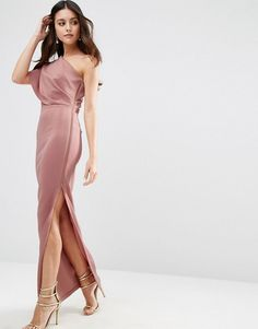 ASOS | ASOS One Shoulder Deep Fold Maxi Dress with Exposed Zip in Scuba