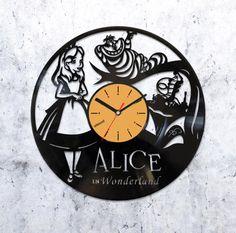 Alice in wonderland vinyl record clock