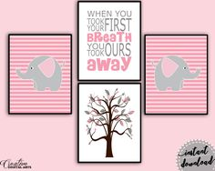 Nursery Elephant, pink, first breath, love, Inspirational Wall Art, Art Printables, Modern Minimalist Print, Creative Home Decor #giftidea #birthdaygiftideas #housewarminggift