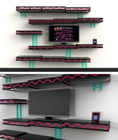 Donkey Kong themed wall shelves. Definitely a cool idea for a game room.