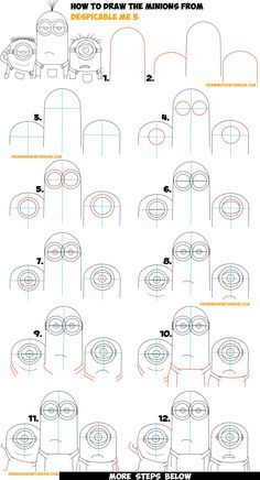 How to Draw the Minions from Despicable Me 3 Easy Step by Step Drawing Tutorial for Kids & Beginners (Maybe Kevin, Carl, & Jerry) Drawing Videos For Kids, Drawing Tutorials For Beginners, Easy Drawings For Kids, Drawing Lessons, Art Lessons, Easy Drawing Steps, How To Draw Steps, Step By Step Drawing, Minion Sketch