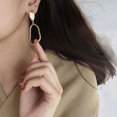 Organic, fluid shape of this earring mimics one of the five beautifully tranquil lakes in Mt. Fuji, Japan - The Hexad Jewelry