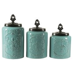 American Atelier Earthenware 3pc Canister Set Blue