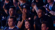 Ashley Banjo acting like a proud Dad supporting Perri at Splash <3 :')