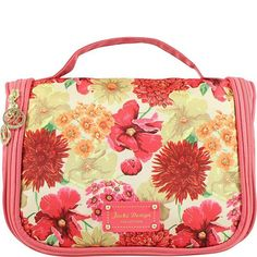 - This beautiful coral floral toiletry bag features romantic floral pattern and gold accents. - It is perfect to store your makeup, toiletry items, nail polish, accessories or even jewelry. - It is gr