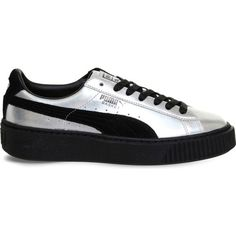Puma Basket metallic-leather trainers ($86) ❤ liked on Polyvore featuring shoes, sneakers, black shoes, black platform shoes, puma shoes, leather sneakers and black leather shoes