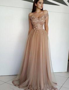 A-Line Off-The-Shoulder Champagne Long Prom/Evening Dress #promdresses #longpromdresses #fashionpromdresses #elegantpromdresses #eveningdresses