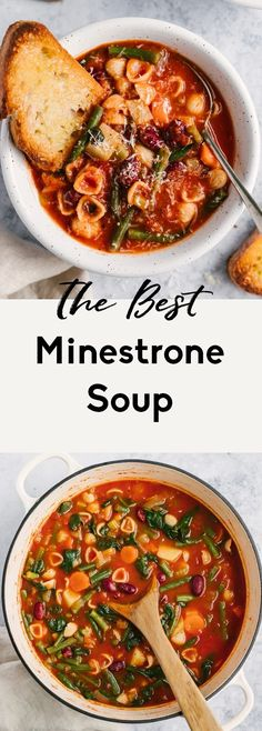 Vegetarian minestrone soup packed with veggies like celery, carrots, green beans and spinach and simmered in a flavorful, Italian seasoned tomato broth. Use your favorite noodles in this minestrone soup recipe and pack in the protein with kidney beans! Delicious with a sprinkle of parmesan cheese and a side of garlic bread. #minestrone #soup #healthylunch #healthydinner #souprecipe #vegetarian #vegan Classic Minestrone Soup Recipe, Vegetarian Minestrone Soup, Minestrone Soup Recipes, Kitchen Recipes, Cooking Recipes, Soup Kitchen, Vitamix Recipes, Vegetarian Recipes, Healthy Recipes