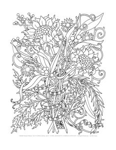 Adult Coloring Pages Floral Bouquets Set of 8 door emerlyearts